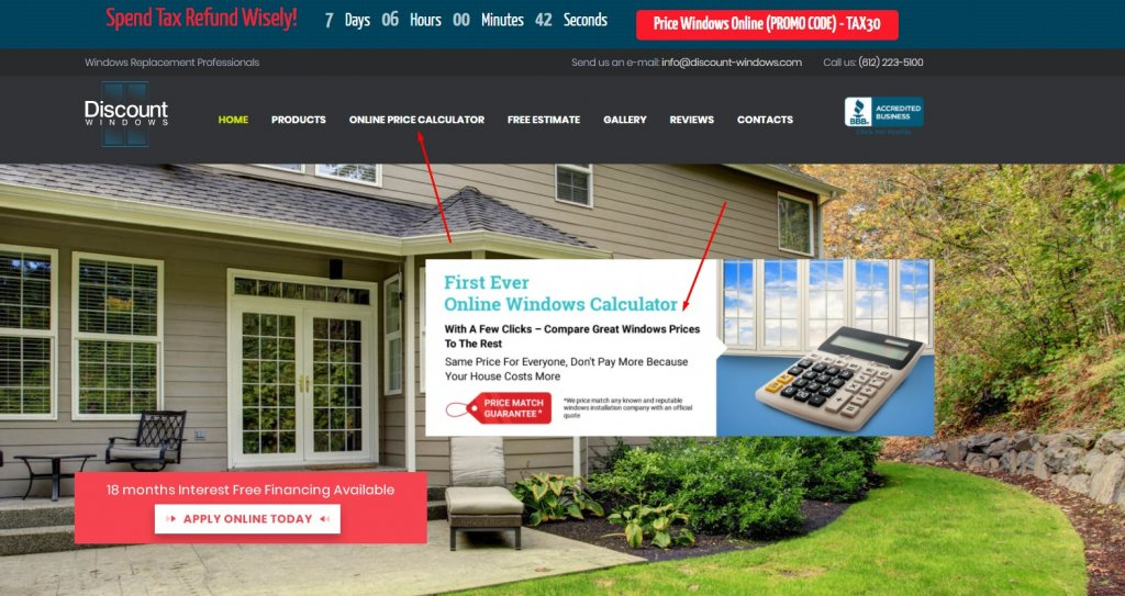 Price windows and doors only with Discount Windows online calculator